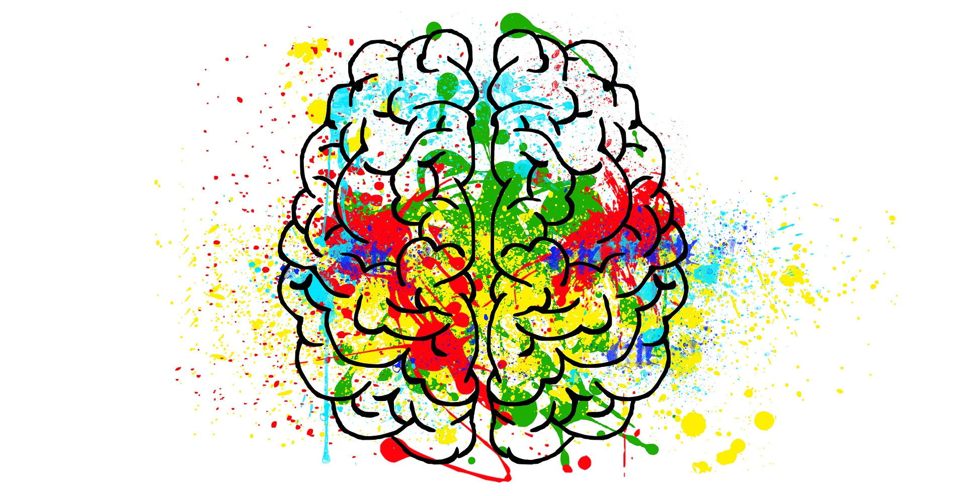 drawing of brain with colorful splotches
